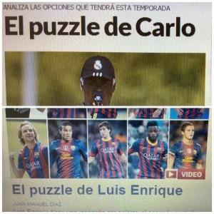 PUZZLES. La de arriba pertenece al  diario Marca y la de abajo, a Sport. Uno es de Madrid, el otro de Barcelona. Los DT buscan la formación ideal. Mientras, la descripción de los periodistas es similar.