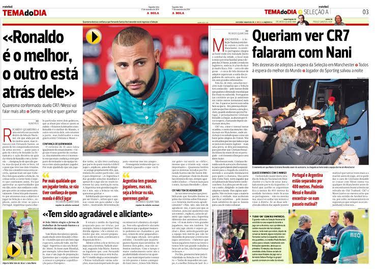RICARDO QUARESMA.  El joven delantero portugués se deshizo en elogios para su compañero estrella.