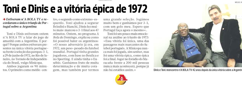 ÚNICA VEZ. El diario A Bola recordó la única victoria de Portugal sobre Argentina. Fue en 1972. Este aspecto estadístico es una gran movitación para el cuadro lusitano.