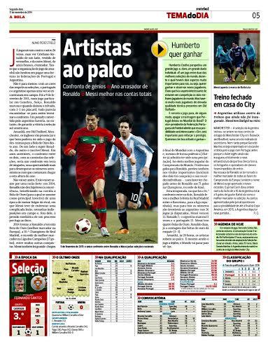"""CRISTIANO - MESSI. Obviamente, también Portugal plantea el duelo. Pondera el gran año de CR7, pero aclara que en las """"cuentas totales"""", gana el pibe rosarino."""