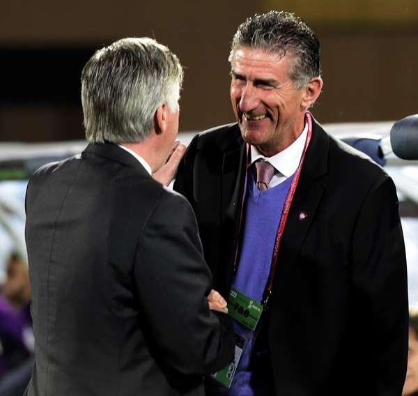 """BAUZA Y ANCELOTTI. """"Real Madrid seguirá haciendo historia"""", dijo el DT de San Lorenzo. Su decisión de repetir el equipo en los dos partidos es discutible, pero en el análisis global hizo un muy buen trabajo para ganar la Copa Libertadores."""