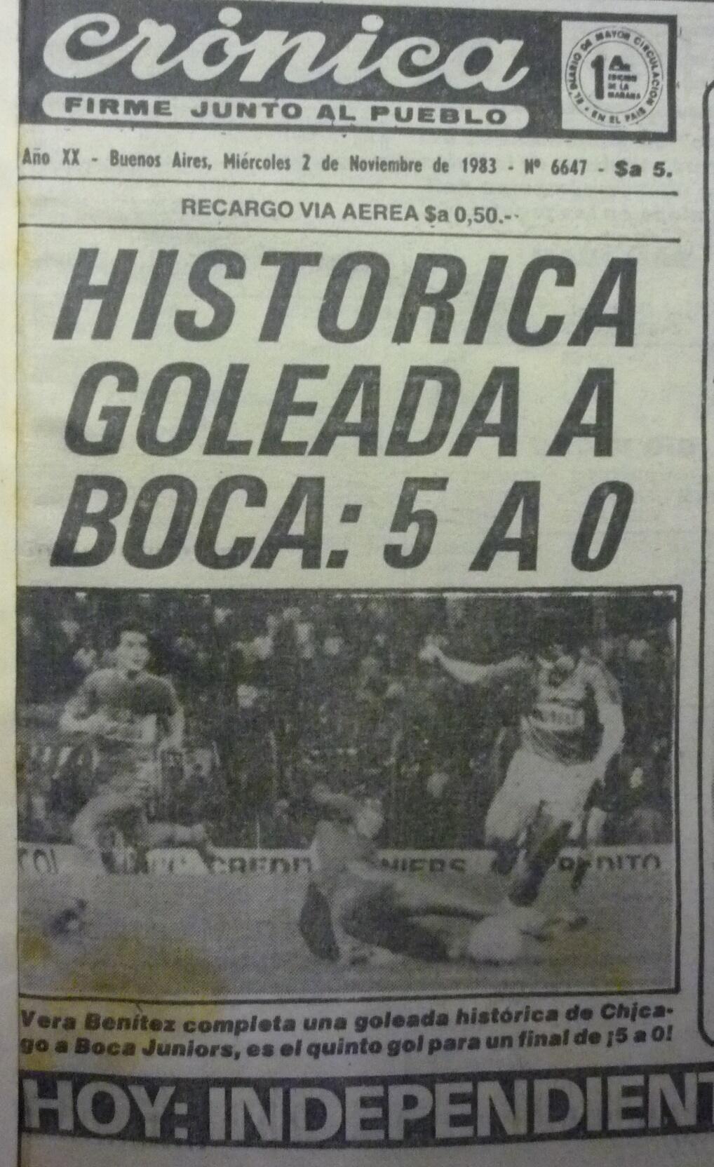 INOLVIDABLE. La mayor hazaña de Chicago ante Boca. Le ganó 5-0 y, además, Gatti le atajó un penal a Acuña.